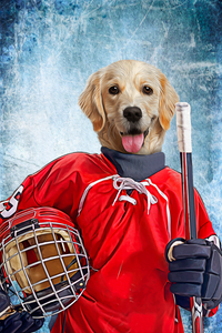 The Ice Hockey Player Custom Canvas Pet Portrait - Noble Pawtrait