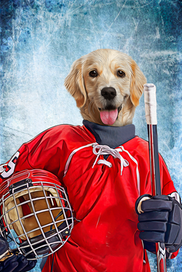 The Ice Hockey Player Custom Digital Download Pet Portrait - Noble Pawtrait
