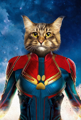 The Wonder Captain Paw Custom Pet Portrait Digital Download - Noble Pawtrait