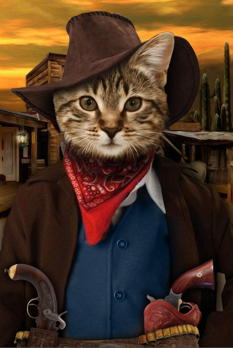 The Cowboy Custom Pet Portrait Digital Download - Noble Pawtrait