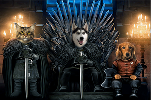 The Iron Paw Throne Custom Pet Portrait Digital Download - Noble Pawtrait