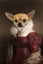 Load image into Gallery viewer, The Lady in Red Custom Pet Portrait Digital Download - Noble Pawtrait