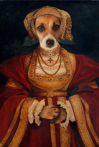 Lady in Orange Custom Pet Portrait Digital Download - Noble Pawtrait