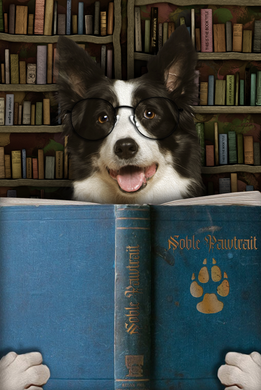 The Book Worm Custom Pet Portrait Digital Download - Noble Pawtrait
