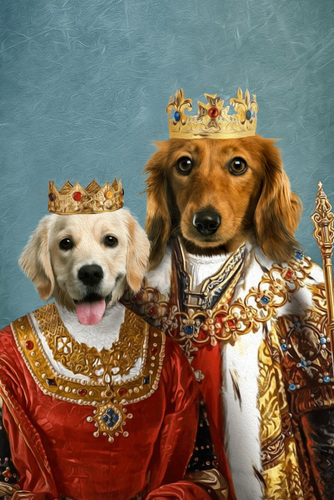 Royal King and Queen Custom Pet Portrait Digital Download - Noble Pawtrait