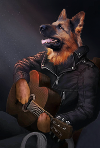 The Guitarist Custom Pet Portrait Digital Download - Noble Pawtrait