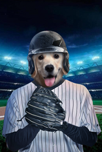 Load image into Gallery viewer, The Baseball Player Custom Canvas Pet Portrait - Noble Pawtrait