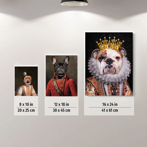 The Charming Queen Custom Pet Portrait Canvas - Noble Pawtrait