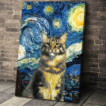 Load image into Gallery viewer, The Starry Nite Custom Pet Portrait Canvas - Noble Pawtrait