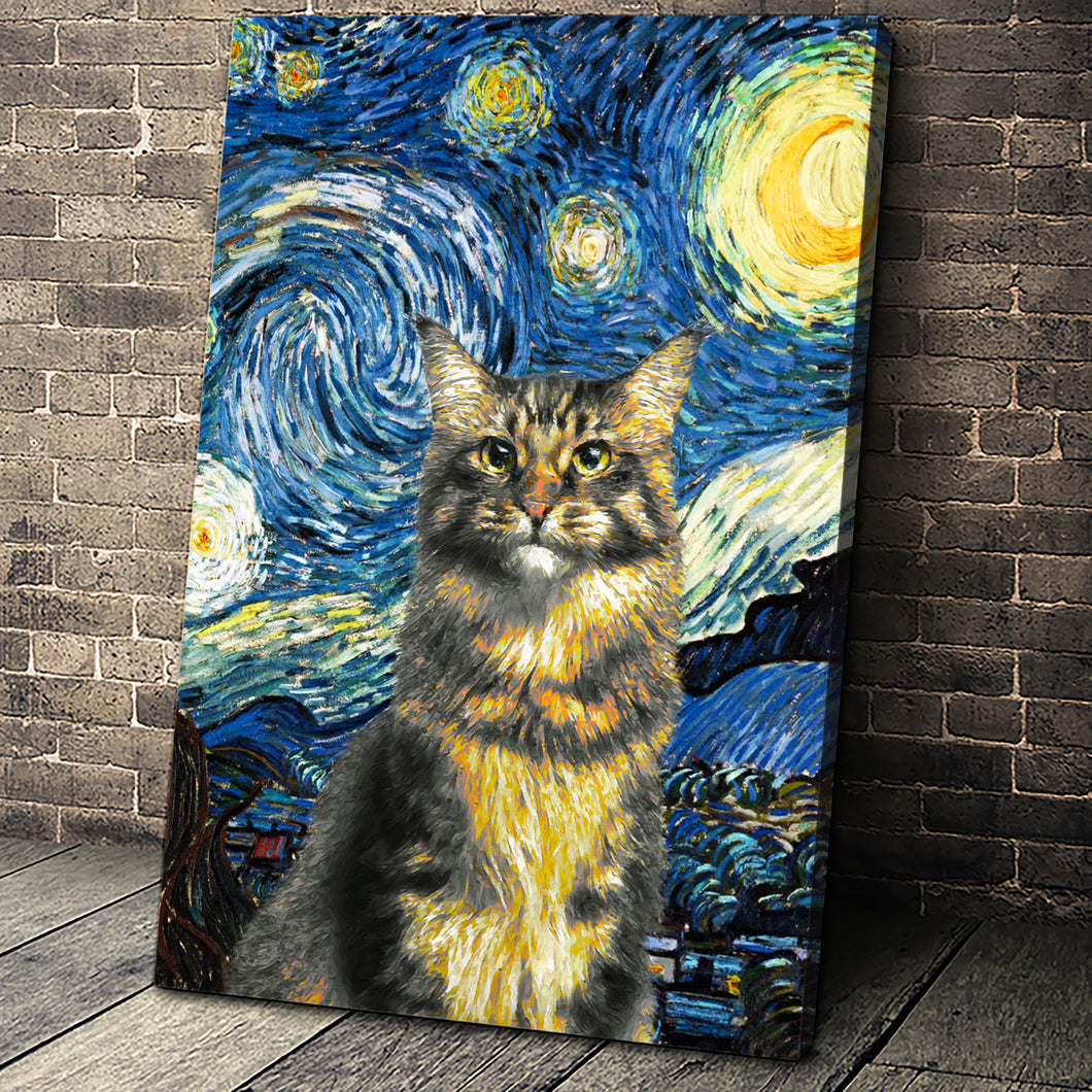 The Starry Nite Custom Pet Portrait Canvas - Noble Pawtrait
