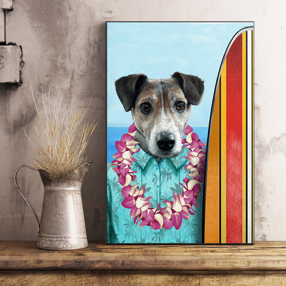 The Surfer Custom Pet Portrait Poster - Noble Pawtrait