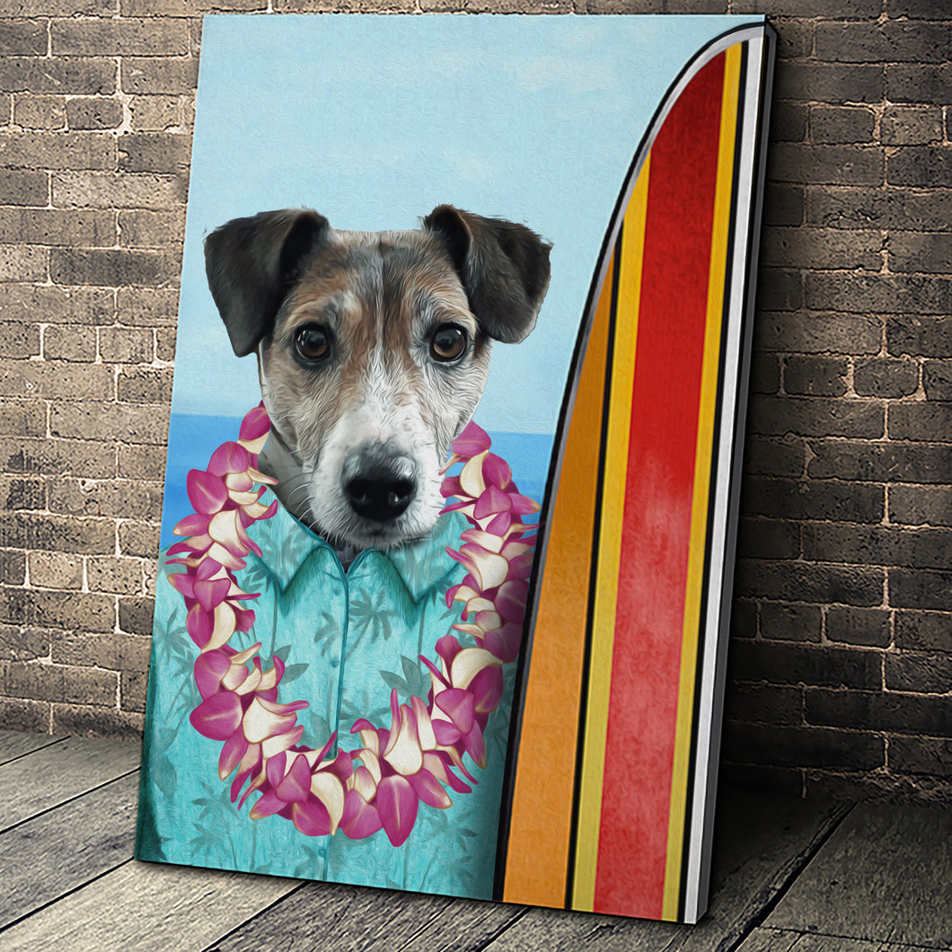 The Surfer Custom Pet Portrait - Noble Pawtrait