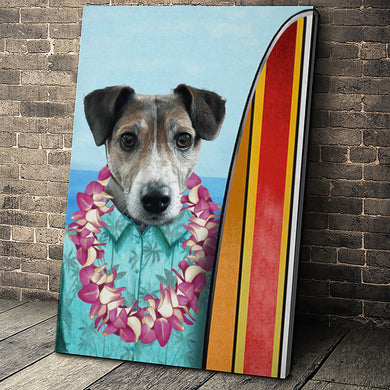 The Surfer Custom Pet Portrait Canvas - Noble Pawtrait