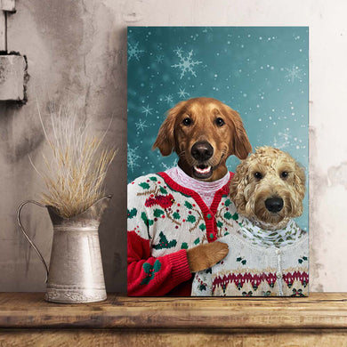 The Christmas Couple Custom Pet Portrait Canvas - Noble Pawtrait