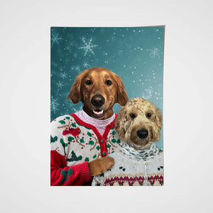 The Christmas Couple Custom Pet Portrait Poster - Noble Pawtrait