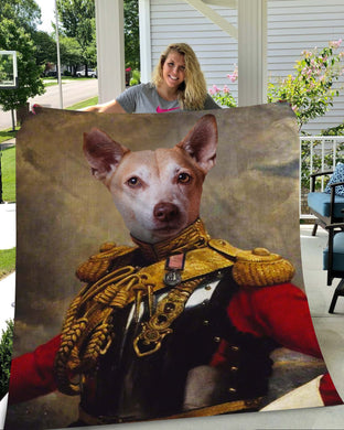 The Colonel Custom Pet Blanket - Noble Pawtrait