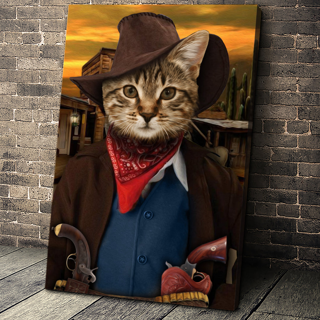 The Cowboy Custom Pet Portrait Canvas - Noble Pawtrait