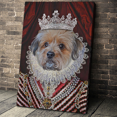 The Diamond Queen Custom Pet Portrait Canvas - Noble Pawtrait