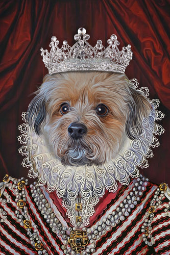 The Diamond Queen Custom Pet Portrait Poster - Noble Pawtrait