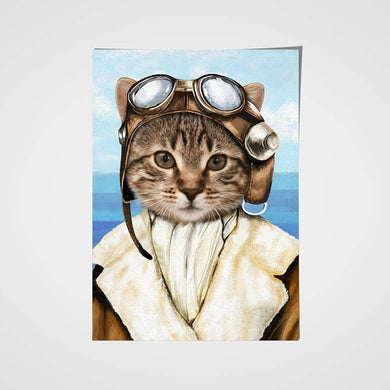 The Female Pilot Custom Pet Portrait Poster - Noble Pawtrait