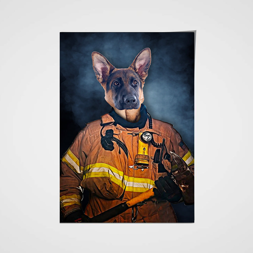 The Firefighter Custom Pet Portrait Poster - Noble Pawtrait