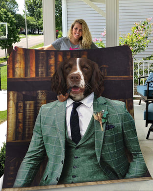 The Gentleman Custom Pet Blanket - Noble Pawtrait
