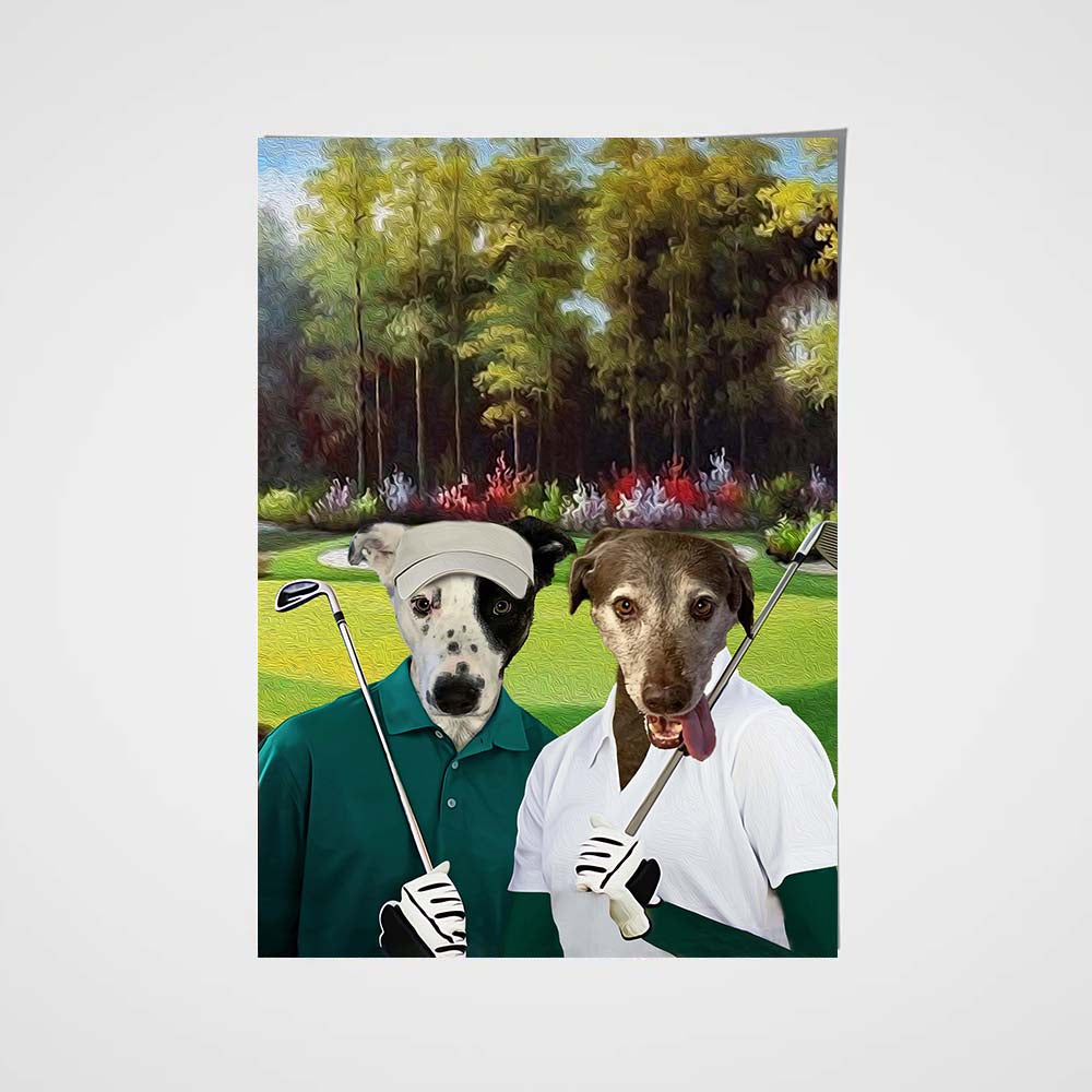 The Golf Couple Custom Pet Portrait Poster - Noble Pawtrait