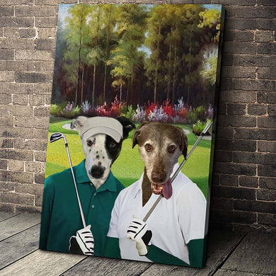 The Golf Couple Custom Pet Portrait Canvas - Noble Pawtrait