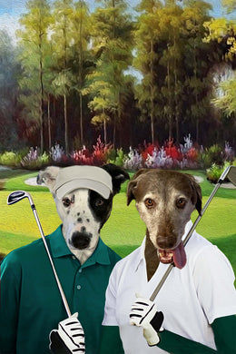 The Golf Couple Custom Pet Portrait Digital Download - Noble Pawtrait