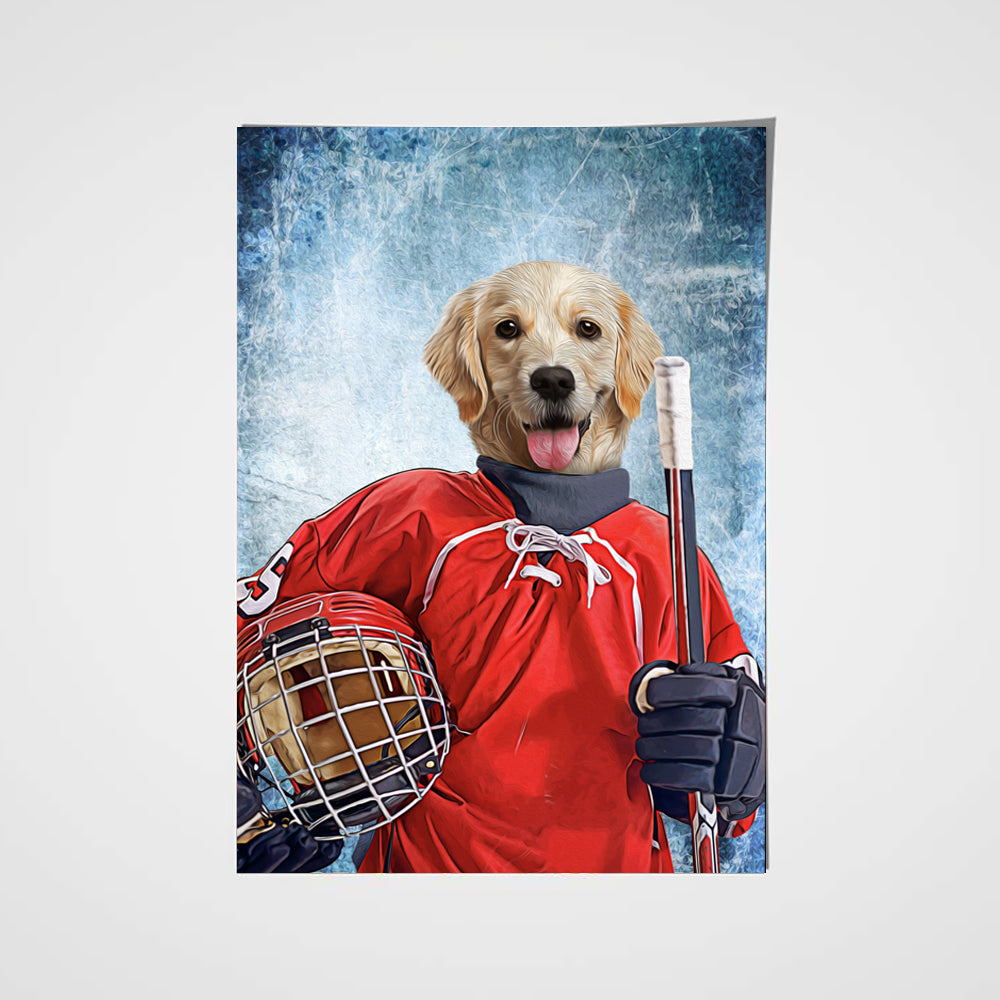 The Ice Hockey Player Custom Poster Pet Portrait - Noble Pawtrait