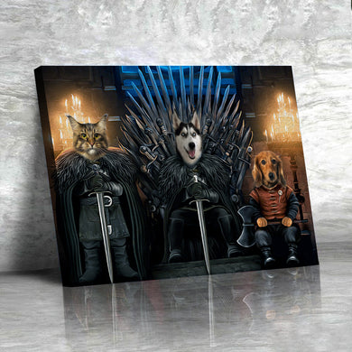 The Iron Paw Throne Custom Pet Portrait Canvas - Noble Pawtrait