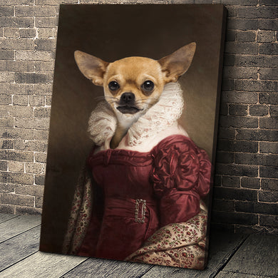 The Lady in Red Custom Pet Portrait - Noble Pawtrait