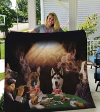 Load image into Gallery viewer, The Poker Players Custom Pet Blanket - Noble Pawtrait