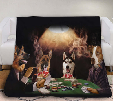 The Poker Players Custom Pet Blanket - Noble Pawtrait
