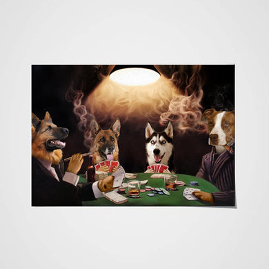 The Poker Players Custom Pet Portrait Poster - Noble Pawtrait