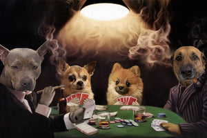 The Poker Players Custom Pet Portrait Digital Download - Noble Pawtrait
