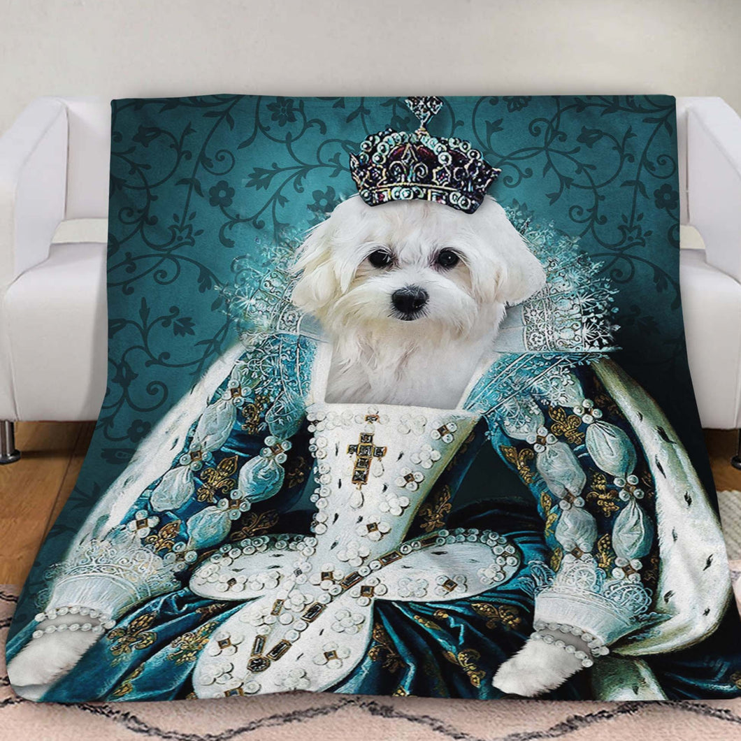 The Queen Custom Pet Blanket - Noble Pawtrait