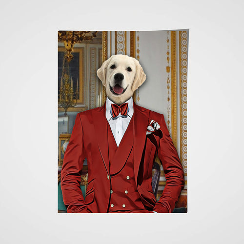 The Red Suit Custom Pet Portrait Poster - Noble Pawtrait