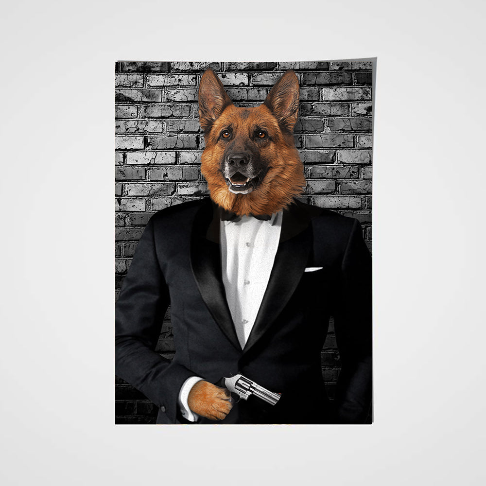The Secret Agent Custom Pet Portrait Poster - Noble Pawtrait