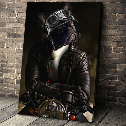 The Biker Custom Pet Portrait - Noble Pawtrait