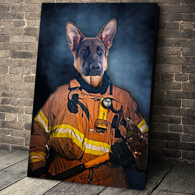 The Firefighter Custom Pet Portrait Canvas - Noble Pawtrait