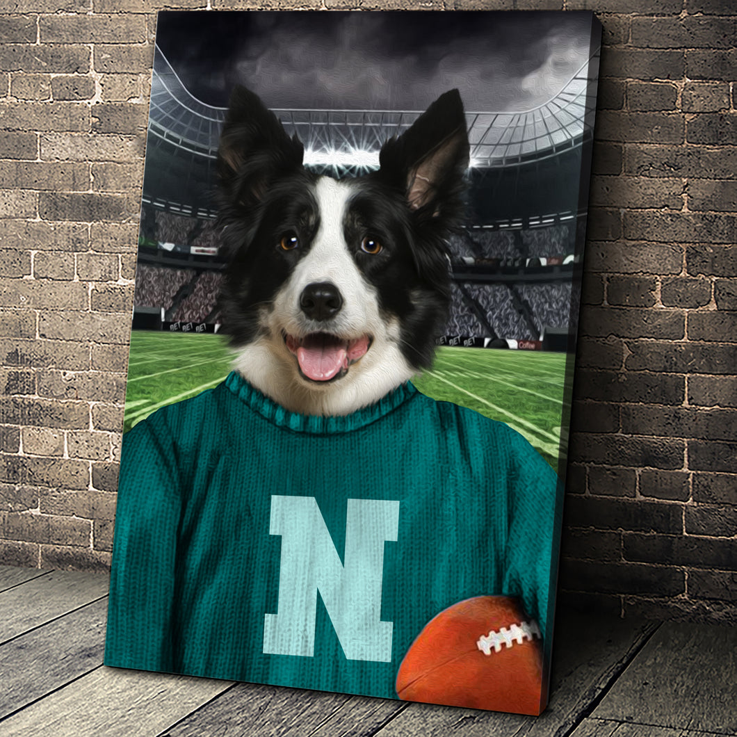 The Vintage Footballer Custom Canvas Pet Portrait - Noble Pawtrait