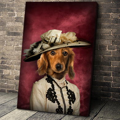 The Glamorous Lady Custom Pet Portrait Canvas - Noble Pawtrait