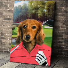 Load image into Gallery viewer, The Golfer Custom Canvas Pet Portrait - Noble Pawtrait
