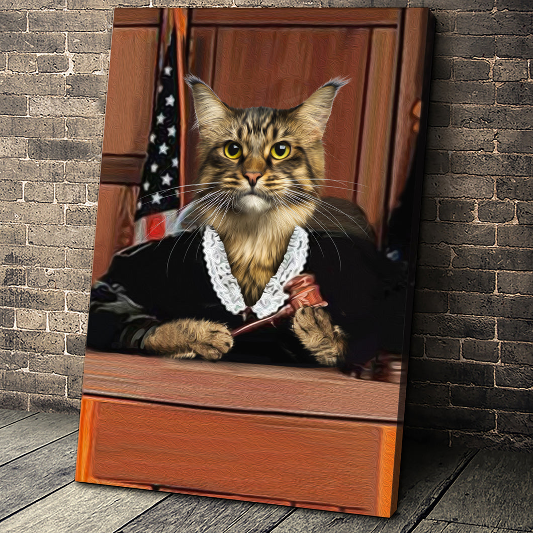 The Judge Custom Pet Portrait Canvas - Noble Pawtrait