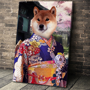 The Kimono Custom Pet Portrait Canvas - Noble Pawtrait