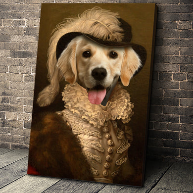 The Dame Custom Pet Portrait Canvas - Noble Pawtrait