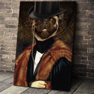 The Classic Man Custom Pet Portrait Canvas - Noble Pawtrait