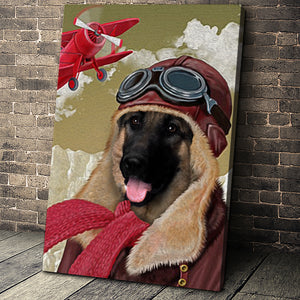 The Old School Pilot Custom Pet Portrait - Noble Pawtrait
