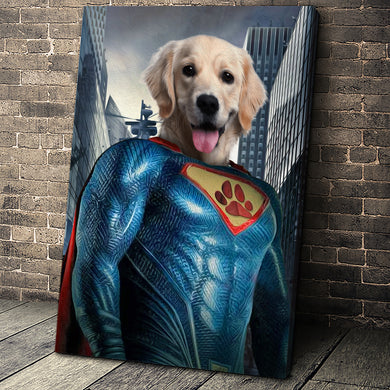 The Super Paw Custom Pet Portrait Canvas - Noble Pawtrait